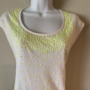 Tops - Neon Yellow Sequin Top (Size M)
